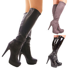 Ladies womens boots stretch high heel platform fitted knee high size 3 4 5 6 7 8