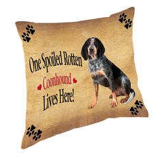 Coonhound Bluetick Spoiled Rotten Dog Throw Pillow 14x14