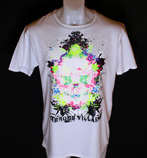 BNWT Autentico Da Uomo Heroes & Villains Bad Ass SKULL T shirt XLarge Bianco Nuovo