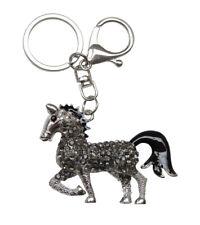Bijoux de Sac, Porte-clés cheval argenté strass noir fumé.