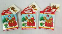 (3) AMSCAN 1989 Christmas Gift Bags Rudolph Red Nosed Reindeer NEW Vintage XMAS