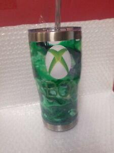 Handmade Custom Microsoft Xbox Green And Black 20oz Tumbler With Lid And Straw