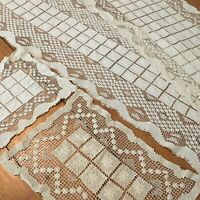 Lot 4 VINTAGE ITALIAN FILET SICILIAN LACE Runners and Doilies Rectangular