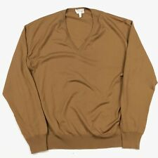 Brioni Brown Wool V-Neck Sweater Men's 54 Made in Italy