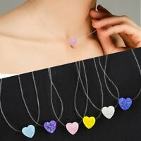 Charm Woman Resin Heart Small  Pendant Necklace Transparent Fish Line Jewellery