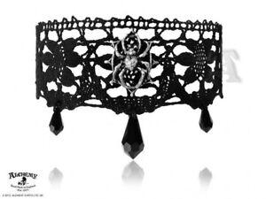 Alchemy Arachnathea Lace Choker Necklace Pendants Pewter Gothic Jewelry - New