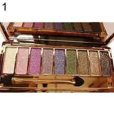 9 Colors Shimmer Eyeshadow Eye Shadow Palette & Makeup Cosmetic Brush Set NEW
