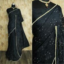BORSA Bollywood Saree Sari Blouse Jacquard Net Fabric Wedding Festival Party