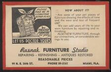Postcard MIAMI Florida/FL  Rusnak Furniture Repair Store Promo Ad 1940's