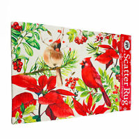 Michel Design Works Christmas Poinsettia Cardinals Woven Scatter Rug