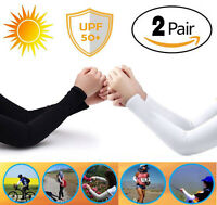 2 Pairs Cooling Arm Sleeves Cover Basketball Golf Cycling UV Sun Protection