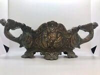 Rare Castilian Imports Bronze Engraved Vase With Ornate Angel Handles
