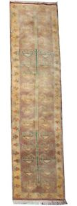 Arts and crafts handmade wool runner rug in pastel green colours 8.3 x 1.9 FT