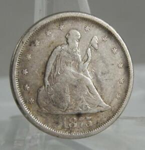 1875-S Twenty Cents 20 Cent Piece 20C Silver F/VF Type Coin C2770