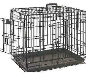 DOG CRATE - (Small - XL) - Lazy Bones 2 Door Metal Cage Pet Enclosure dm Home