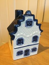 RARE DELFT HOUSE ALL BLUE ROOF CHIMNEY SIGNED