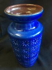 """Scheurich Pottery Mid-Century Modern Cobalt Blue Brown 9"""" Vase West Germany XLNT"""