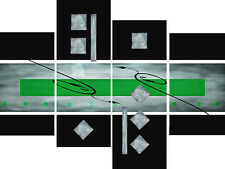 Large Green Black Grey Abstract Canvas Picture Wall Art Split Multi 4 Panel Set