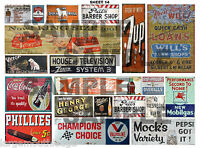 LARGE SHEET HO SCALE WEATHERED BUILDING SIGN DECALS #14