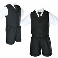 Baby Boy Toddler Wedding Formal Necktie Black Shorts Vest Set Eton Suit S - 4T