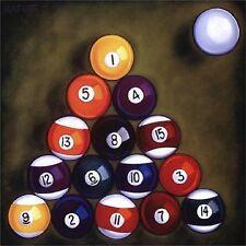 BILLIARDS POOL BALLS RACKED  IMAGE 1 COASTERS SET OF 4 RUBBER BACKED