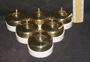 VINTAGE Brass And Ceramic Electric Switches Perfect Working order #4