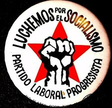 SPANISH FIGHT FOR SOCIALISM -PROGRESSIVE LABOR PARTY BUTTON 1968 -ORIGINAL  RARE