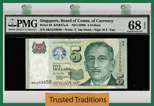 TT PK 39 1999 SINGAPORE 5 DOLLARS ENCIK YUSOF PMG 68 EPQ SUPERB GEM UNCIRCULATED