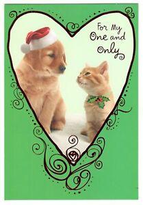 DOG & CAT COUPLE Hallmark Christmas Greeting Card Envelope New MG19
