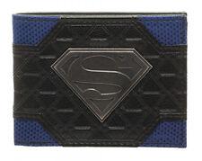 Mix Material Superman Logo Metal Badge Bifold Wallet - NEW!