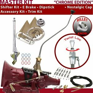 C4 Shifter Kit 23 Swan E Brake Cable Clamp Trim Kit Dipstick For F8485 trans