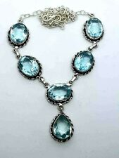 "Pretty Blue Topaz Silver Overlay Handmade Gemstone Necklace New 21"" Adjustable"