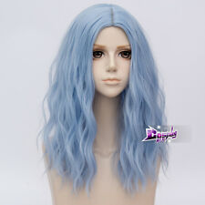 "UK SELLER Anime 18"" Long Wavy Light Blue Women Cosplay Full Wig Heat Resistant"