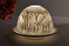 Dome-Light 30162 Elefanten Teelichthalter Windlicht Deko Porzellan Kerzenfarm