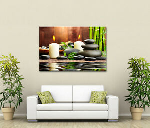 LARGE CANVAS ZEN CALMING WHITE CANDLES & BLACK STONES RELAXING PICTURE NEW PRINT