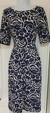 Womens Boden Blue White Floral Textured Heavy Cotton Pleated Dress 12 Long.