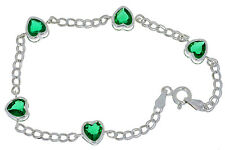 5 Ct Emerald Heart Bezel Bracelet .925 Sterling Silver