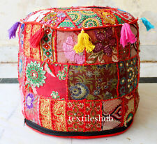 Red Bohemian Pouf Ottoman Stool Floor Pillow Chair Pouffe Indian Handmade Pouf