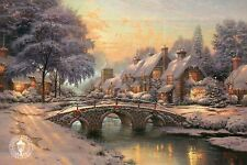 Cobblestone Christmas --- Bridge, Snow, Tree --- Thomas Kinkade Dealer Postcard