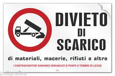 """Cartello PVC adesivo """"DIVIETO di SCARICO di materiali, macerie, rifiuti o altro"""""""