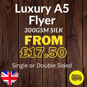 Luxury A5 Flyer - (210mm x 148mm) Printed Single or Double Sided on 300gsm Silk