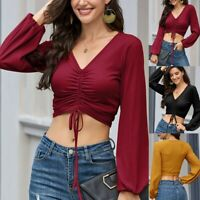 Women's Long-Sleeve Blouse V-Neck Pleated Lace-Up Drawstring T-Shirt Crop Tops