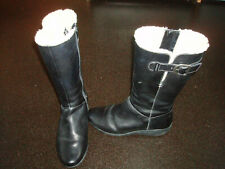 CLARKS ACTIVE AIR BLACK LEATHER FUR LINED KNEE HIGH WOMENS BOOTS