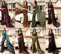 Saree Indian Sari Designer Pakistani Georgette Wear Blouse Wedding Sc Fancy