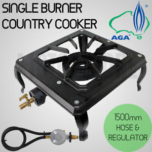 Ignite Single Ring Burner Country Cooker Cast Iron LPG Camping Gas Burner Stove