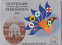 2001 Australian Centenary of Federation 6 coin set UNC