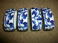 Andrea By Sadek Blue & White Porcelain Set of Napkin Rings