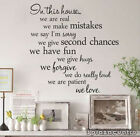 We do real fun love IN THIS HOUSE Vinyl Family Wall Stickers Decals Home TRO