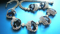 FABULOUS HOBE' SILVERTONE FACETED LARGE BLUE & CLEAR RHINESTONES CHOKER NECKLACE