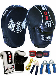 Boxing Gloves and Focus Pads Set Hook & Jabs Mitts Punch Gym Training MMA